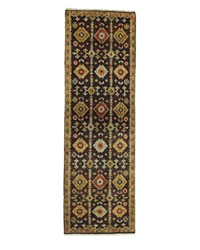 "Bashian Rugs Hand-Knotted Indo Oushak Rug, Chocolate, 2' 6"" x 8' Runner"