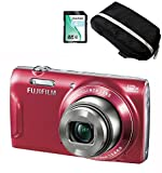 Fujifilm FinePix T500 Digital Compact Camera - Fuji Case & Card Bundle - Red