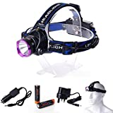 XCSOURCE® 2200 Lm CREE XM-L T6 focus LED Headlamp Headlight Head Torch Lamp Front Lamp Camping Hiking Light +2 X 18650 Rechargeable Battery + Car Charger + UK Charger LD362