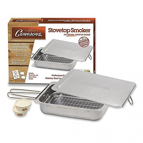 Stovetop Smoker - Stainless Steel Indoor Or Outdoor Smoker Works On Any Heat Source - with Recipe Guide and Wood Chips (Home Electric Smoker compare prices)