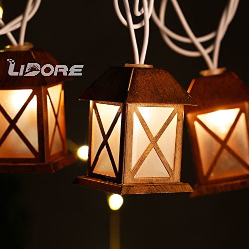 LIDORE Set of 10 Warm White Glow Bronze Metal House Shaped Lantern Plug-in String Light - For indoor/outdoor 1