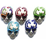 Shipwreck Beads 30 by 21mm Peruvian Hand Crafted Ceramic Skull Beads with Mask , Assorted Color, 3 per Pack