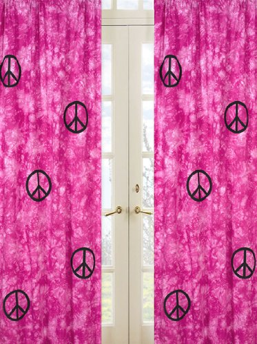 Pink Groovy Peace Sign Tie Dye Window Treatment Panels - Set of 2