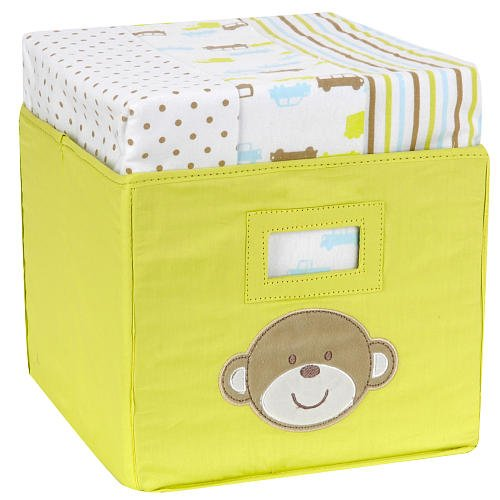 Carter'S Tote With 3-Pack Receiving Blankets - Monkey front-138485