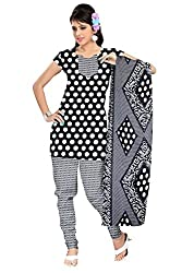 Khushali Presents Crepe Dress Material(Black,White)