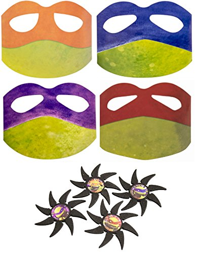 Teenage Mutant Ninja Turtle Play Bundle - 8 Items: 4 Paper Masks, 4 Foam Stars