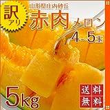 【予約販売】【訳あり】 山形県庄内砂丘産 赤肉メロン(3~6玉) 約5kg~6kg