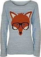 WearAll - Pull tricoté à manches longues avec l'image du renard qui porte les lunettes - Pulls - Femmes - Tailles 36 à 42