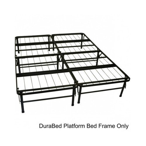 Modern Queen-size Heavy Duty Steel Foundation & Frame-in-one Mattress Support System Platform Bed Frame Includes Scented Candle Tart (frame w/headboard/attaching bracket pair) (Durabed Brackets compare prices)