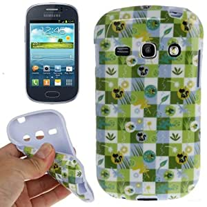Crazy4Gadget Checked Cat and Fish Pattern Smooth Anti-scratch TPU Case for Samsung Galaxy Frame S6810