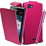 Connect Zone® SONY XPERIA J ST26i FLIP PU LEATHER CASE COVER POUCH + SCREEN PROTECTOR + POLISHING CLOTH & TOUCH SCREEN STYLUS