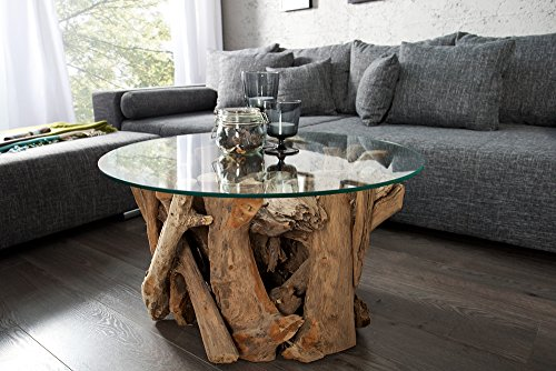 Design-Couchtisch-NATURE-LOUNGE-Teakholz-mit-runder-Glasplatte-Beistelltisch