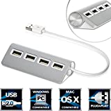 "Sabrent Premium 4 Port Aluminum USB Hub (9.5"" cable) for iMac, MacBook, MacBook Pro, MacBook Air, Mac Mini, or any PC (HB-UMAC)"