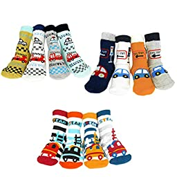 KF Baby Boy Non-Skid Cozy Soft Cotton Socks Value Pack [Set of 12 pairs], Beetle, Train, Rescue Boy, for 12 - 24 months