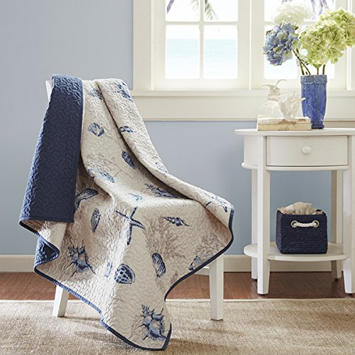 Madison Park Nantucket Coastal Reversible Oversized Polyester Quilted Throw, 60
