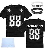BIGBANG ビッグバン G-DRAGON ジヨン 88番 フットボールTシャツ & 応援リストバンド2個 & CaseEdenミニファイバークロス セット (男女共用XLサイズ)