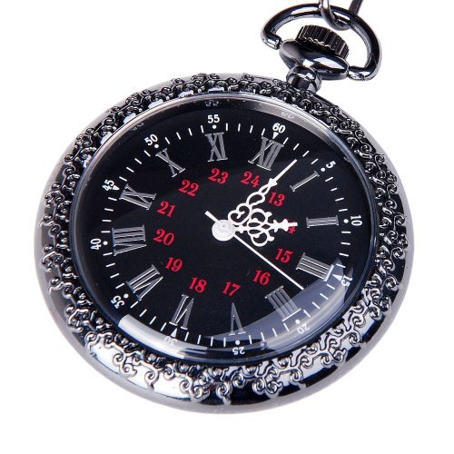 Pocket Watch Black Dial Open Faced Roman Numerals with Chain Vintage Design PW-24
