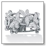 Platinum Over Sterling Silver Diamond Accent Butterfly Band