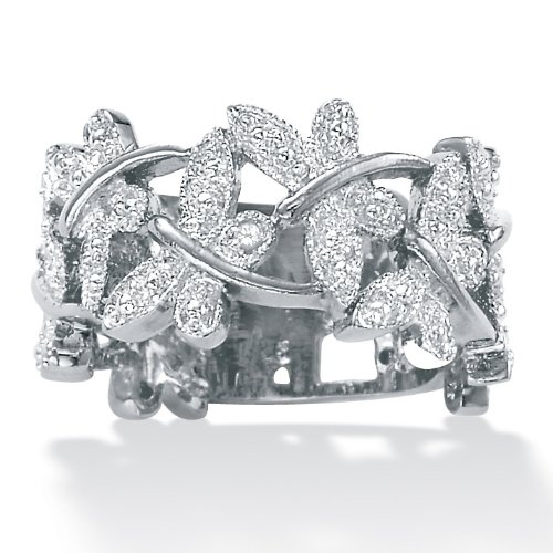 Palm Beach Jewelry - Platinum Over Sterling Silver Diamond Accent Butterfly Band Ring