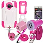Pink and White Rugged Kickstand Hybrid Case for Straight Talk Samsung Galaxy Discover & Centura, Samsung R740. Comes with USB Car Charger, House Charger, 3ft Cable, 10ft Cable, AUX Cord, Stylus Pen and Radiation Shield.