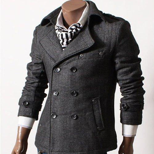 GL Fashions Men's Double Breasted Blazer Herringbone Coat/Jacket - Black - XXL