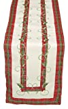Xia Home Fashions Tartan Ribbon Embroidered Christmas Table Runner, 8-Inch by 62-Inch