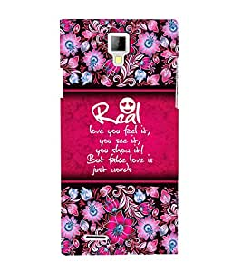 Real Love Is Feel 3D Hard Polycarbonate Designer Back Case Cover for Micromax Canvas Xpress A99