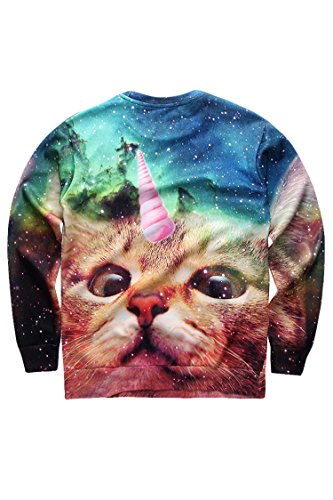 Cutiefox Cats Shell Printing Round Neck Sweaters Sweatshirts, Funny Cat, XL