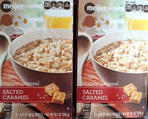 2 Boxes Meijer Salted Caramel Instant Oatmeal Total 16 Packets