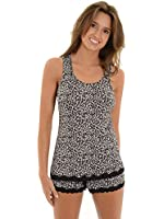 Women's Black White Leopard Matching Pajamas 2 Piece Set Tank Top and Shorts