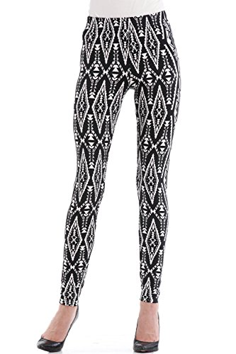 Osa Women New Geometric Pattern All Seasons Stretch Seamless Printed Pattern Leggings Pants Size Xl Black