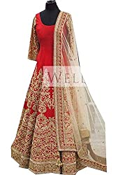 Royal Fashion red DESIGNER LEHENGS CHOLI MATERIAL.