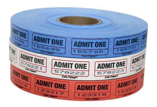 The Coin-Tainer Co. Single Assorted Raffle Ticket Rolls, 2000 Count, 1 Roll, Colors May Vary (60640-63773) (Admit One Ticket Roll compare prices)