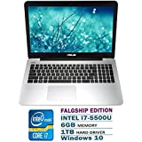 "ASUS 15.6"" Pro Build Laptop Flagship Edition Intel Core I7-5500U 6GB RAM 1TB HDD DVD HDMI WIFI Windows 10 Black"