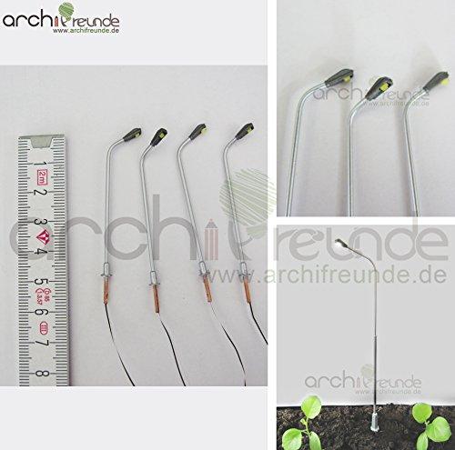 4 x LED moderne Kupfer Straßenlampe silber 5cm Modellbau 1:100/1:150 Modelleisenbahn Spur TT/N