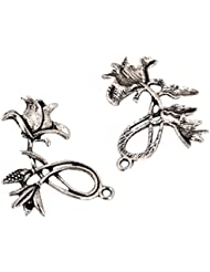 10 X Beautiful Flower Charms Beads 32x30mm Antique Silver Tone For Charms Bracelet Necklace Jewelry Findings #...