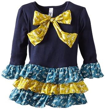 Love U Lots Little Girls' Drop Waist Combo Satin Floral Tiers Dress, Navy, 2T
