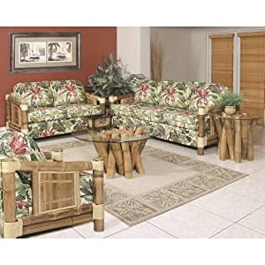 Aloha Upholstered Bamboo 6 Person Deep Seating Group with Cushion Indoor Fabric: Beige