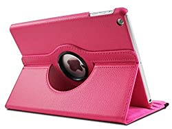 TGK 360 Degree Rotating Leather Case Cover Stand For iPad Air 2, iPad Air 6 - Hot Pink