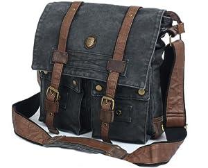 SERBAGS Black Military Vintage Canvas Leather Shoulder Messenger Bag