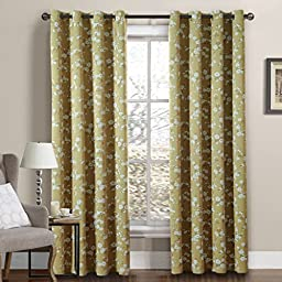 H.Versailtex Sophisticated Printed Room Darkening Blackout Curtains,Grommet Top,52 by 63 - Inch,Taupe with White Sakura Floral(Set of 2 Panels)