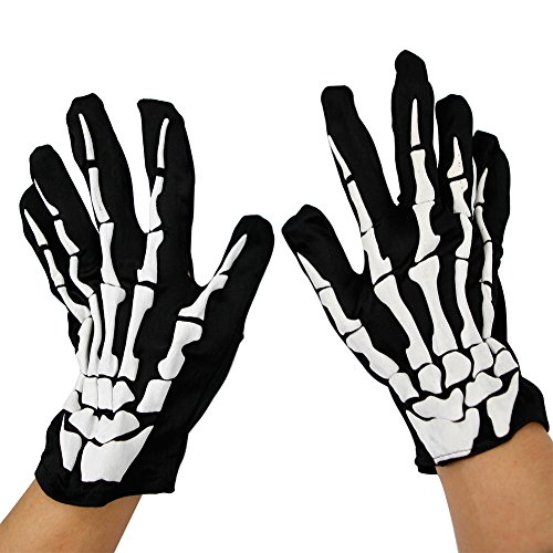 Vampire Skeleton Skull Gloves Hands Bones Halloween Adult Child Accessory Cosplay