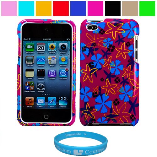 Durable Tropical Flower Design Two Piece Front and Back Protective Hard Shell Crystal Cover Case for Apple iPod Touch 4th Generation + SumacLife TM Wisdom Courage Wristband, Tropical Flower