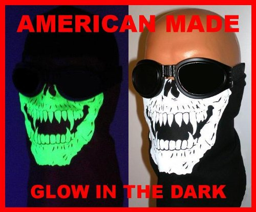 Glow in the Dark Skull Face Mask Motorcycle Biker Bandana Wind Scarf Paintball Airsoft Vampire Skeleton Fangs USA American Made 100% Cotton Black White Paintball Airsoft ATV Ski Snowmobile Hunters