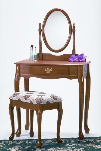 New Oak finish wood vanity makeup table set W/ bench