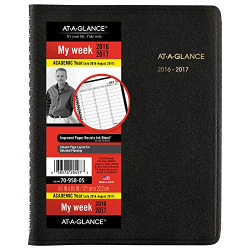 AT-A-GLANCE Academic Year Weekly Appointment Book / Planner, July 2016 - August 2017, 6-3/4
