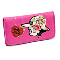 Betty Boop Checkbook Wallet w/ rhinestone brooch accent - Fuchsia