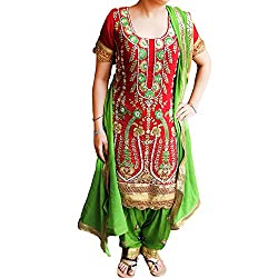Reet Glamour Women 's Crepe Unstitched Maroon And Green Heavy Embroidered Punjabi Suit