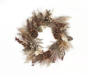 Melrose International 26-Inch Mixed Silver and Brown Tones Decorative Holiday Wreath
