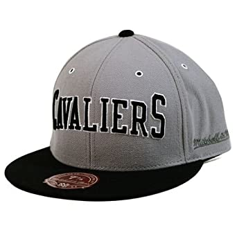 Cleveland Cavaliers Mitchell & Ness HWC Grey Black XL Wordmark Fitted Hat by Mitchell & Ness